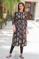 Chic Leafy Maternity & Nursing Kurta Dress - MOMZJOY.COM