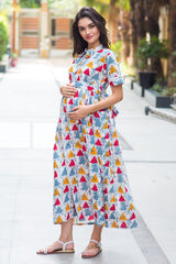 Cotton Cheery Baltic Triangle Maternity & Nursing Dress - MOMZJOY.COM