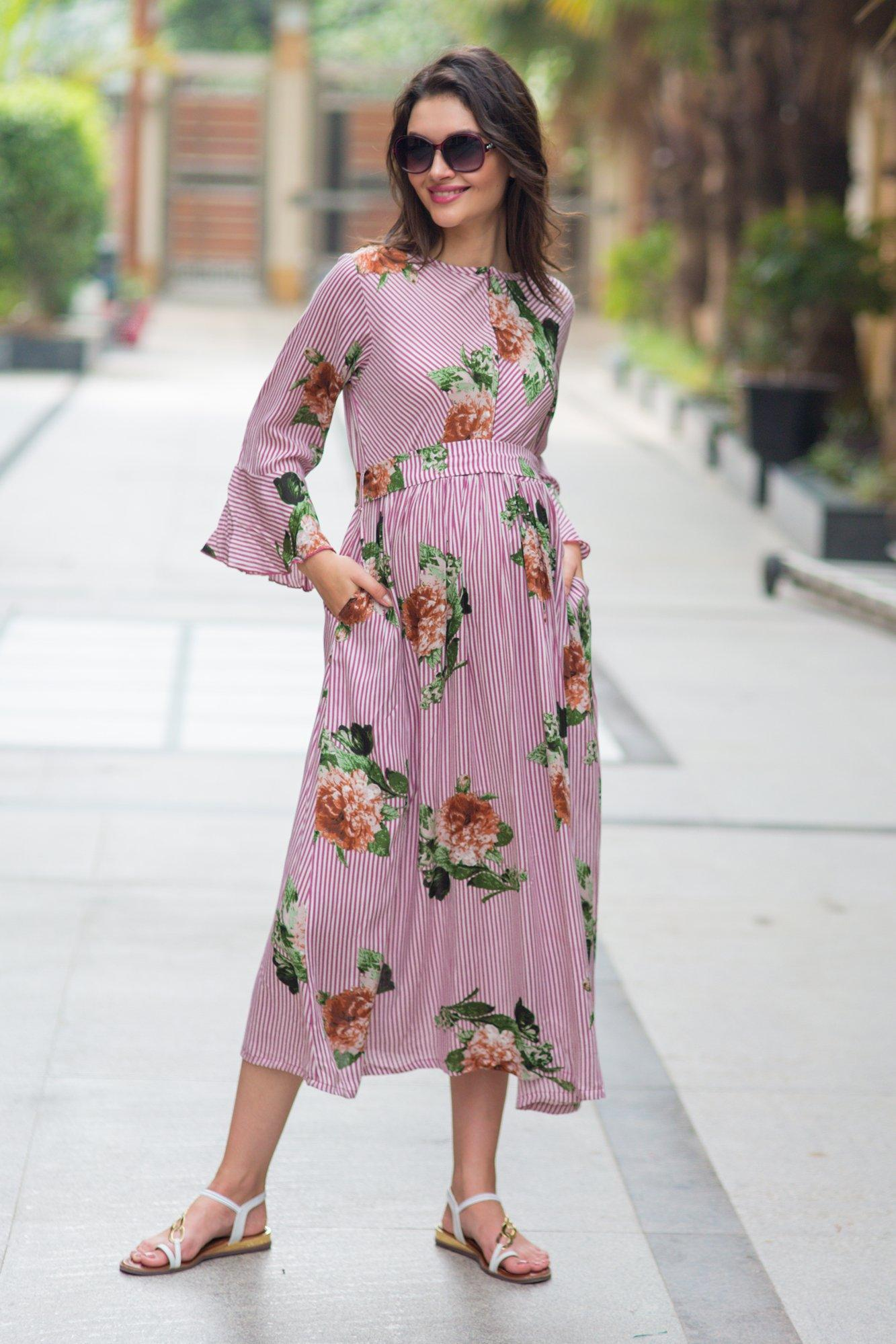 Striped Floral Boho Maternity & Nursing Dress