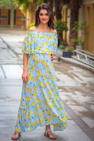 Mint Lemon Off-Shoulder Maternity Maxi Dress