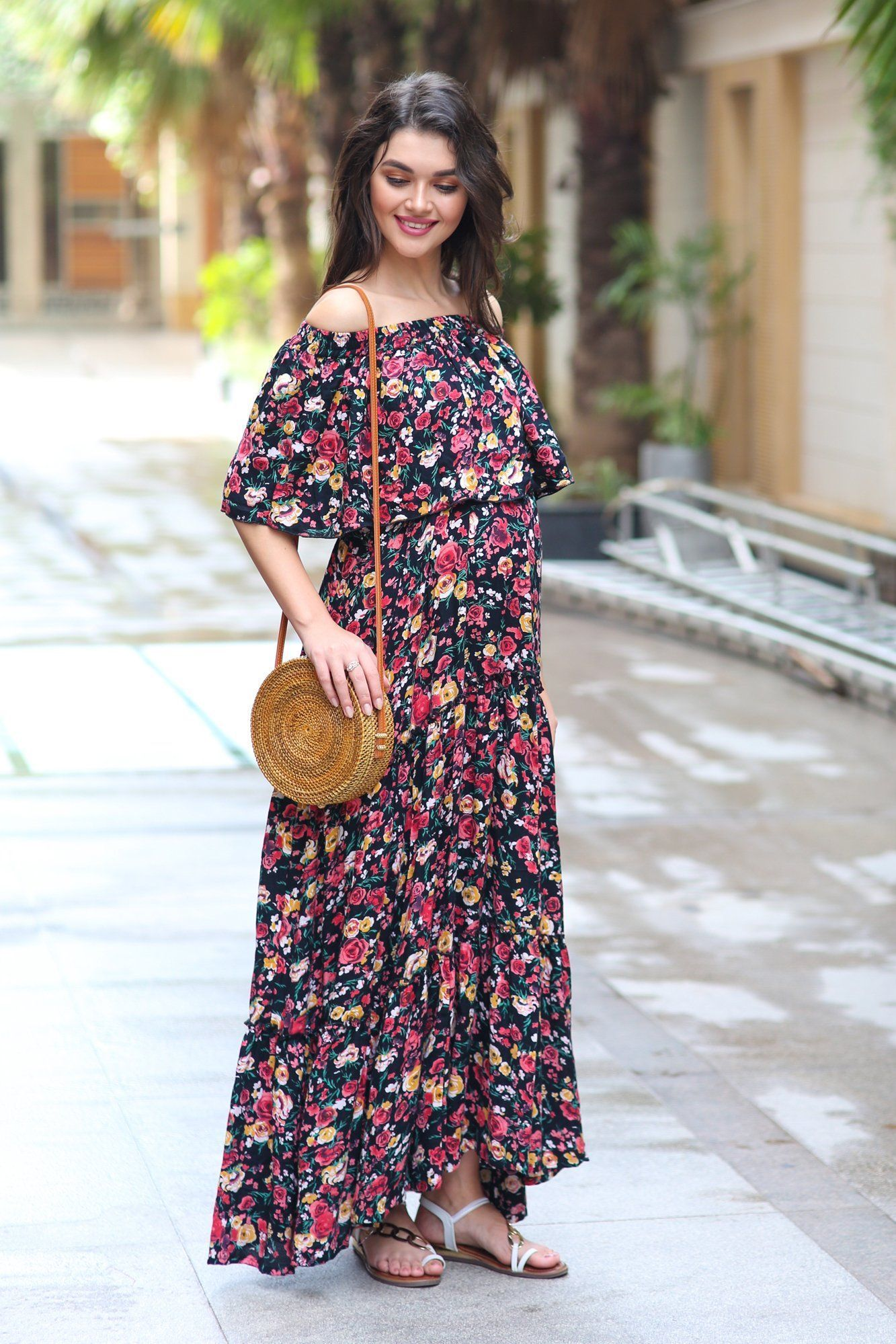 Midnight Blossom Off-Shoulder Maternity Maxi Dress