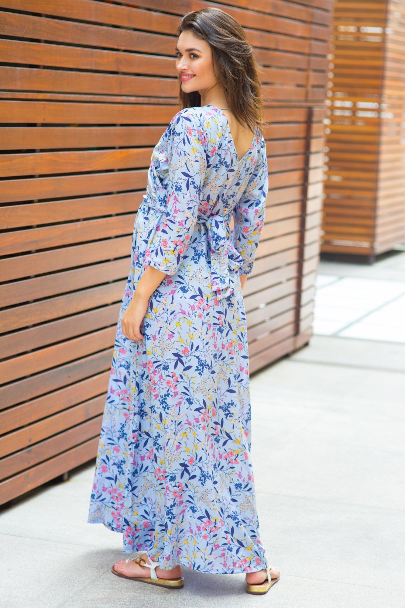 Lilac Floral Maternity & Nursing Wrap Dress