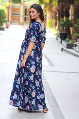 Navy Floral Maternity & Nursing Wrap Dress