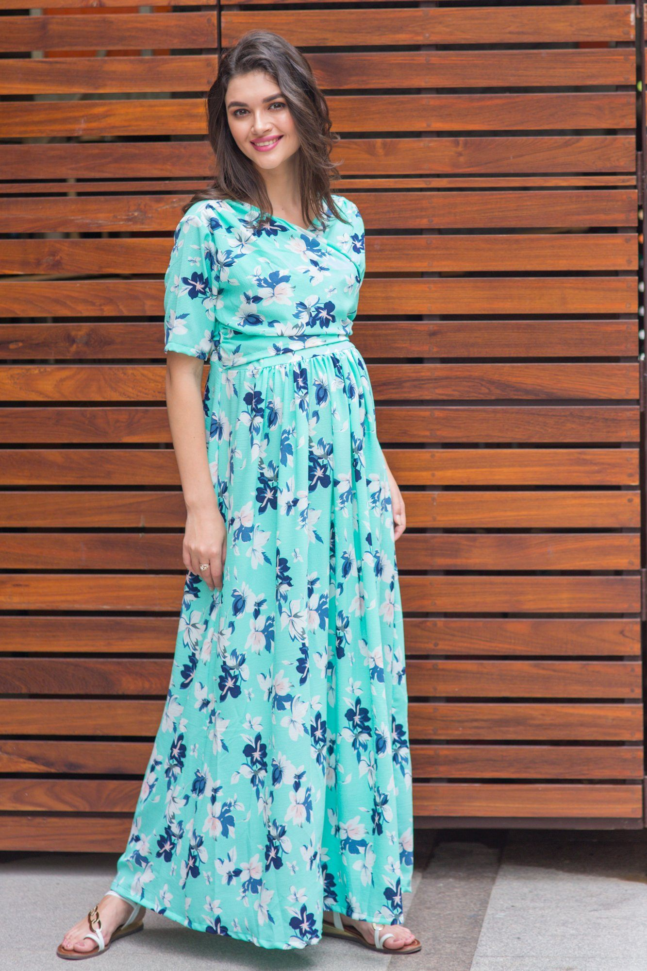 Mint Aquamarine Blossom Maternity & Nursing Wrap Dress