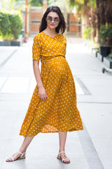 Tuscany Polka Maternity & Nursing Wrap Midi Dress