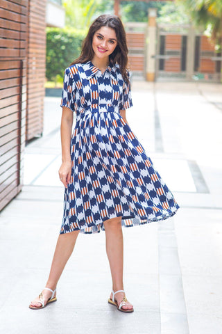 Patterned Navy Maternity & Nursing Dress