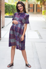 Cotton Patched Striped Maternity & Nursing Dress - MOMZJOY.COM