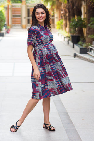 Cotton Patched Striped Maternity & Nursing Dress