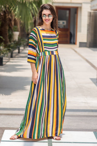 Vivacious Multicolor Striped Crepe Maternity & Nursing Maxi