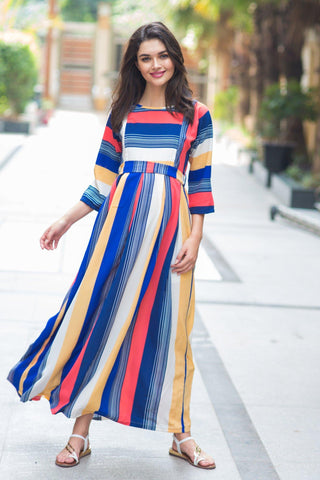 Rainbow Stripe Crepe Maternity & Nursing Maxi