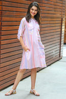 Peach Striped Maternity & Nursing Shirt Dress - MOMZJOY.COM