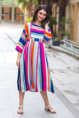 Lively Citrus Striped Maternity & Nursing Maxi
