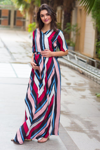 Radiant Striped Maternity & Nursing Wrap Dress