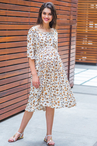 Offwhite Bloom Maternity & Nursing Dress - MOMZJOY.COM