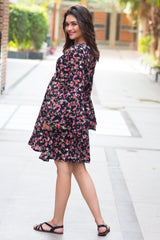Midnight Floral Maternity & Nursing Dress