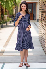 Elegant Ruffle Stripe Maternity & Nursing Dress - MOMZJOY.COM