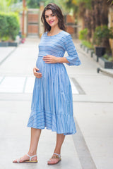 Blue Striped Ruffle Maternity & Nursing Dress - MOMZJOY.COM