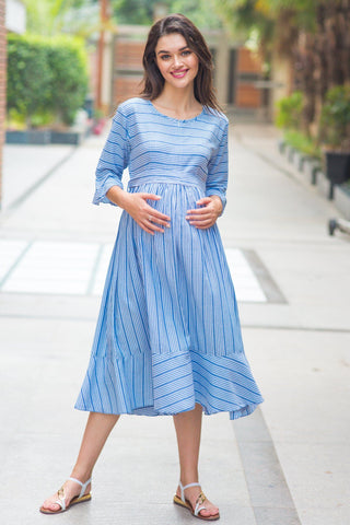 Blue Striped Ruffle Maternity & Nursing Dress