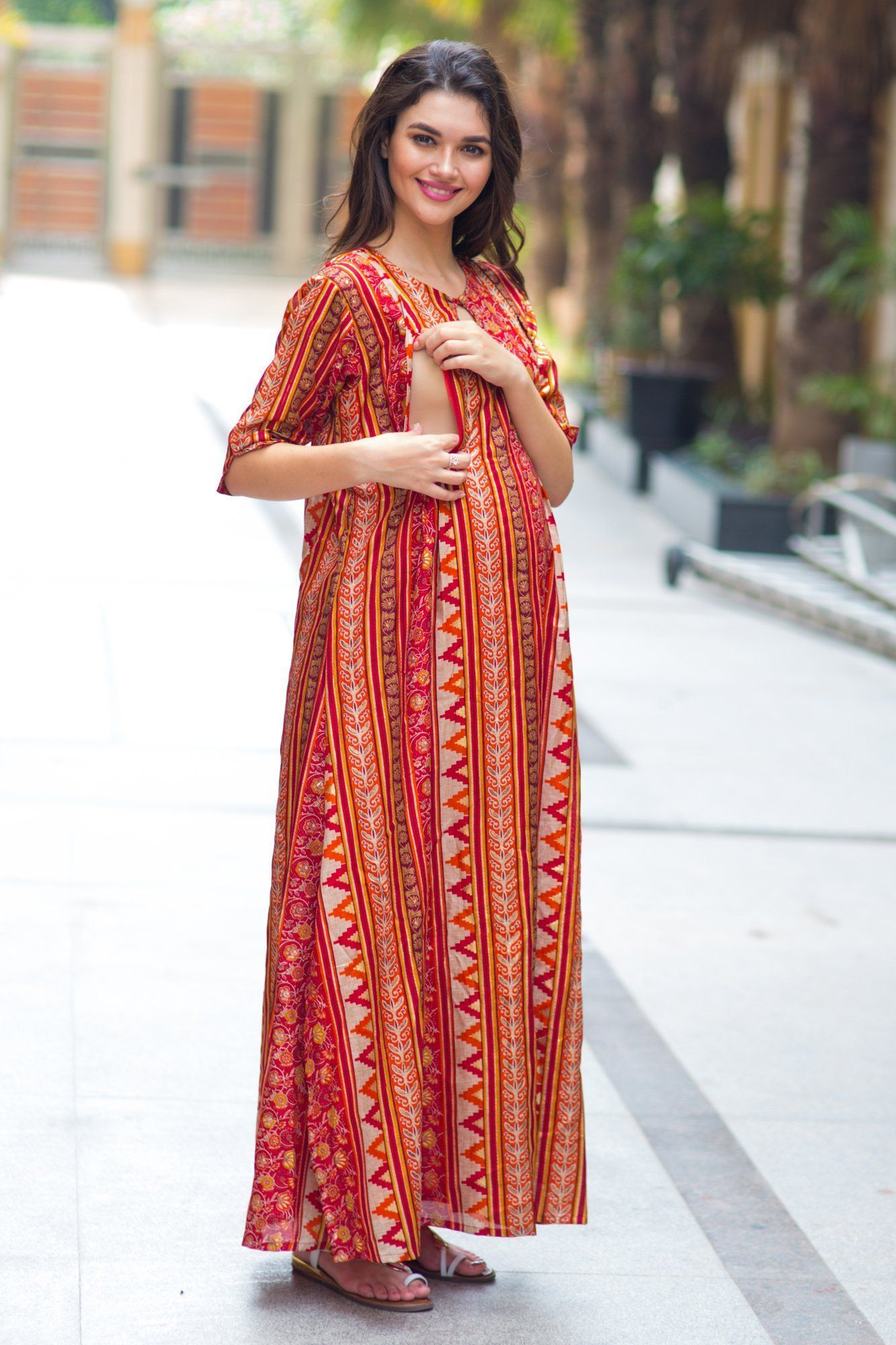 Classical Orange Side Slit Maternity & Feeding Dress - MOMZJOY.COM
