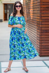 Aqua Leafy Cold Shoulder Maternity & Nursing Maxi - MOMZJOY.COM