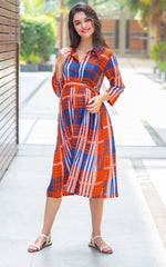 Amber Check Maternity & Nursing Dress - MOMZJOY.COM