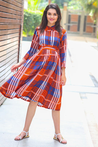 Amber Check Maternity & Nursing Dress
