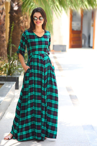 Teal Plaid Maternity & Nursing Maxi