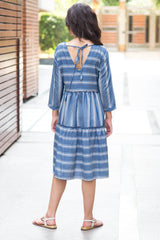 Spruce Blue Stripe Maternity & Nursing Dress