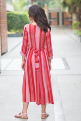 Cardinal Striped Pocket Maternity & Nursing Dress - MOMZJOY.COM