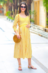 Sunshine Striped Pocket Maternity & Nursing Dress