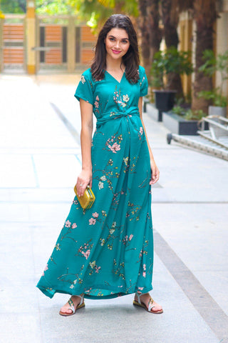 Exquisite Emerald Floral Front Knot Maternity Dress
