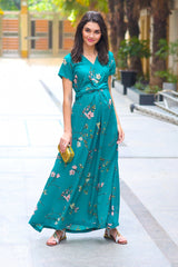 Exquisite Emerald Floral Front Knot Maternity Dress - MOMZJOY.COM