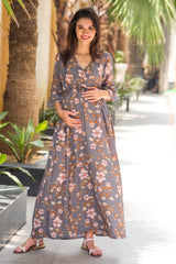 Flint Grey Floral Flared Sleeve Wrap Front Dress - MOMZJOY.COM