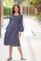 Bell Sleeves Striped Maternity & Nursing Dress - MOMZJOY.COM