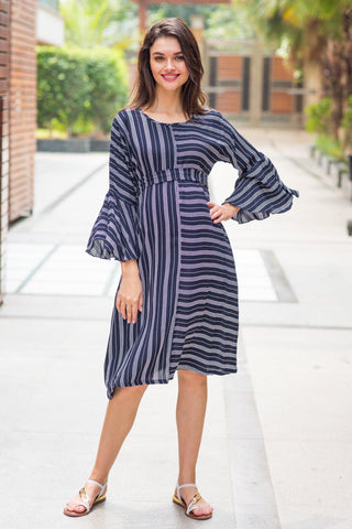 Bell Sleeves Striped Maternity & Nursing Dress