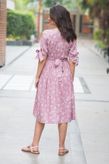 Pastel Pink Floral Ties Maternity & Nursing Dress