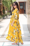 Miami Yellow Floral Maternity & Nursing Maxi - MOMZJOY.COM