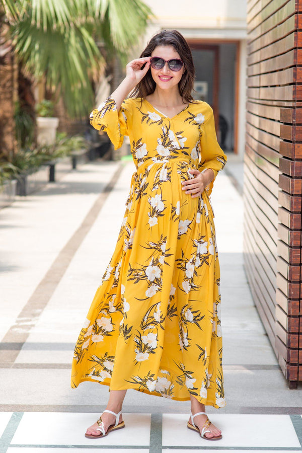 Miami Yellow Floral Maternity & Nursing Maxi