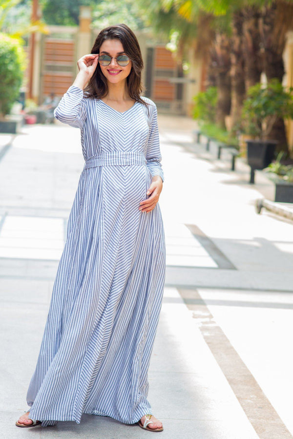 Soothing Grey Striped Nursing Dress