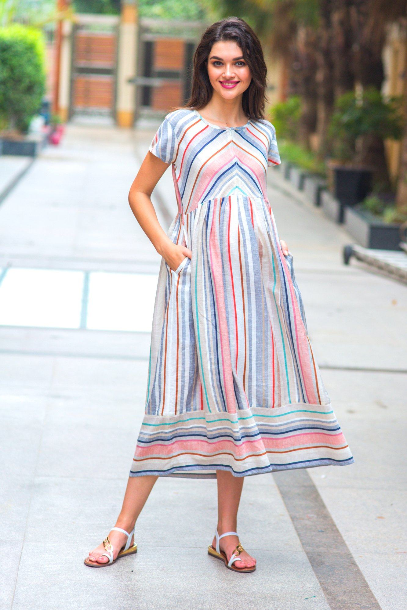 Abstract Striped Linen Maternity & Nursing Dress - MOMZJOY.COM