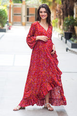 Crimson Frill Maternity & Nursing Wrap Dress - MOMZJOY.COM