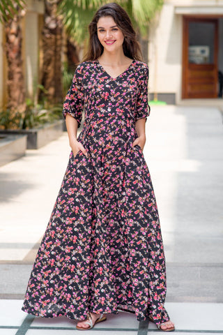 Floral Amour Maternity & Nursing Maxi Dress