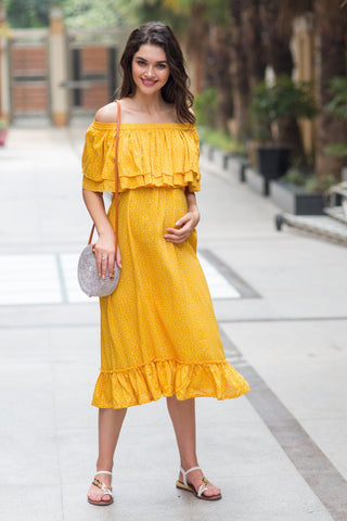 Sunrise Mustard Polka Off-Shoulder Maternity Maxi