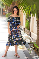 Aztec Mesh Off-Shoulder Maternity Maxi - MOMZJOY.COM