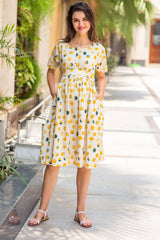 Bubbly Polka Cotton Maternity & Nursing Dress - MOMZJOY.COM
