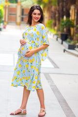 Lemon Mint Blue Maternity & Nursing Dress