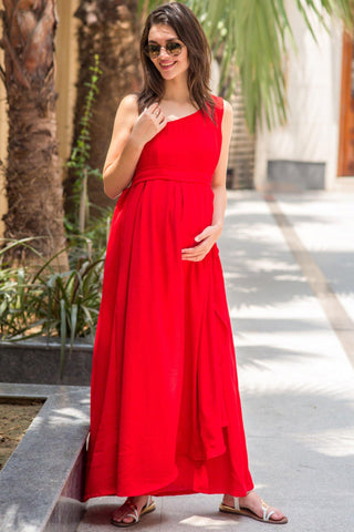 Luxe Candy Red Side Shoulder Maternity & Nursing Maxi
