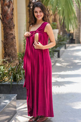 Burgundy Side Shoulder Concealed Maternity & Nursing Maxi - MOMZJOY.COM