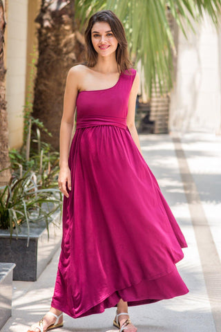 Burgundy Side Shoulder Concealed Maternity & Nursing Maxi