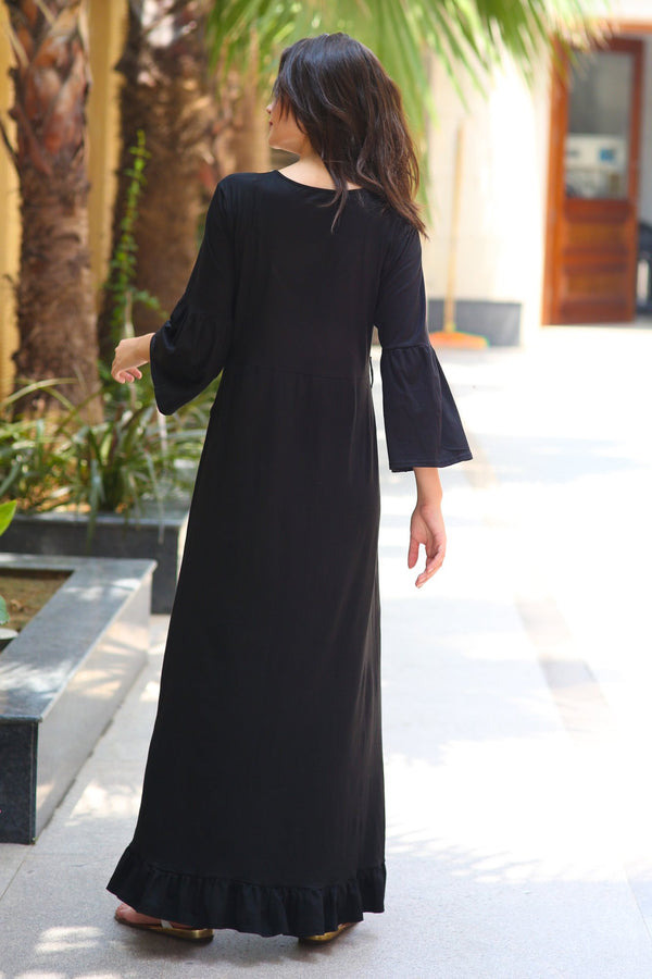 Black Lycra Maternity & Nursing Frill Wrap Dress - MOMZJOY.COM